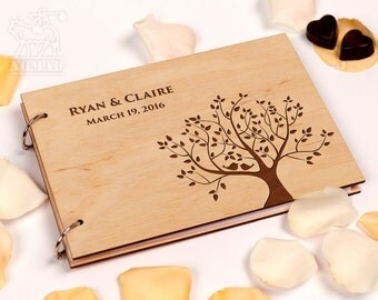 Rustic Wedding Guest Book, Custom Guest Book, Guestbook Wedding, Wood wedding guestbook, Tree Wedding, Laser Engraved, Gift for Couple