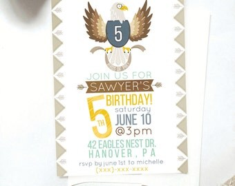 Bald Eagle Birthday Invitation, Printable DIY Invitation, Kids Eagle Party Invitation