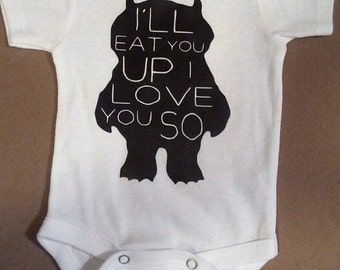 Where the wild things are baby bodysuit and bib