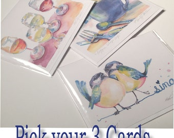 "3 Card Set Watercolor 4.25"" x 5.5"" Blank Greeting Cards"