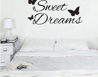 Sweet Dreams wall art - Vinyl Decal Sticker - Bedroom decor - butterflies