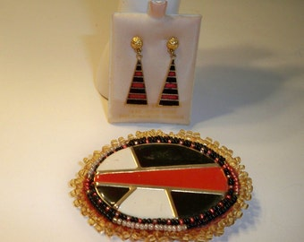 Red, Black, & Gold Brooch and Earrings, Vintage 14KT Gold Earrings, Upcycled Vintage Red, Black White Brooch Beaded with Gold Seed Beads