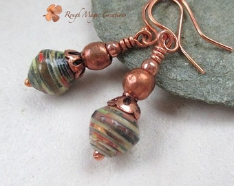 Green Paper Earrings, African Trade Beads, Copper, Multicolor Earthy Jewelry, Primitive Tribal Ethnic Statement Multicultural Diversity E441