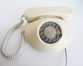 NT Rotary Dial Phone Northern Telecom Dawn Almond Color, Beige telephone low pancake space age home decor modern office french bedside phone