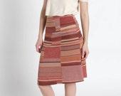 Vintage 60s Pink Color Block Knit Midi Sweater Skirt | 6/8