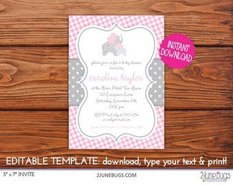 Elephant Baby Shower Invitation Girl, Printable Pink Gray Gingham Elephant with Polka Dots Baby Shower Invitation EDiTABLE