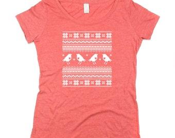Womens Christmas Tshirt - XMAS shirt - Red Womens Ugly Christmas Sweater tshirt  - Scoop Neck  - In Small, Medium, Large and XL