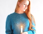 Lucia, Teal knit wool sweater, vintage, Japan, small - medium