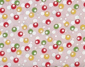 SALE! Red Green White & Yellow Circles on White and Red 1930's Reproduction Cotton Quilt Fabric, Sara Morgan's Toy Box IV BHF8262-2