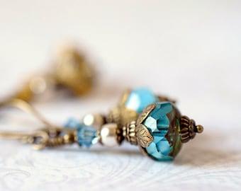 Aqua Teal Crystal Earrings Bohemian Turquoise Blue Drop Earrings Czech Glass Earrings Antique Brass Dangles Golden Topaz Earrings Gift