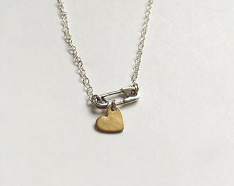 Safety Pin Heart Necklace - Mended Heart Layering Necklace - Safety Pin Necklace - Tiny Heart Necklace - Gold Heart - Delicate Necklace