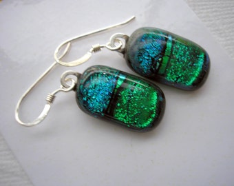 Dichroic Earrings Green Teal Fused Glass Jewelry Sterling Earwires Color Shifting Earrings Dangle Drop Pierced Kiln Fired Glass Giftsfor Her