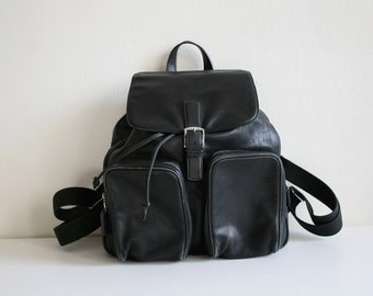 Large Coach Black Leather Backpack