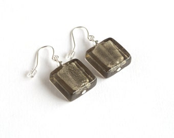 Grey Fused Glass Earrings - Square Dangly Earrings - Silver Foil Lined Glass Drop Earrings - Glass Jewellery