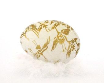 Easter Egg Japanese Washi - Ivory White with Golden Cranes - Matte Finish