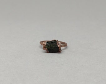 Raw Stone Ring - Electroform Ring - Copper - Stacking Ring - Boho - Hippie - Natural Stone Jewelry - Rustic - Epidote Ring - Epidote Jewelry