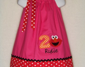 Elmo Pillowcase Dress / Personalized / Pink + Red Dots / 123 Sesame Street / Big Bird / Girly / Girl / Infant / Baby / Kid / Custom Boutique