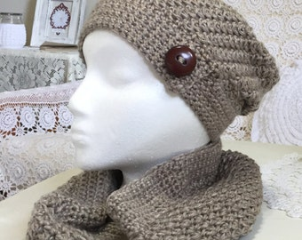 Crocheted slouch hat with matching cowl