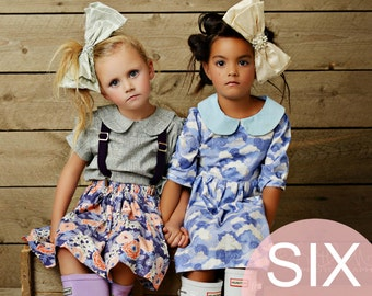 Girls Easy Sewing Patterns Beginner Sew Patterns Girls Dress Peter Pan Collar Blouse Girls Skirt High Waist Twirl Skirt Baby Bloomers Romper