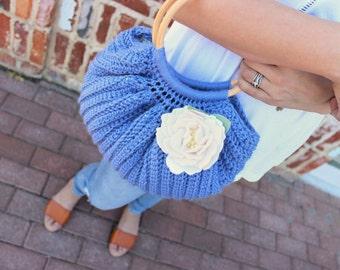 Crochet Handbag - Crochet Purse - Fat Bottom Bag - Wool Purse - Top Handle Purse - Crochet Bag - Swag Bag - in Cornflower Blue