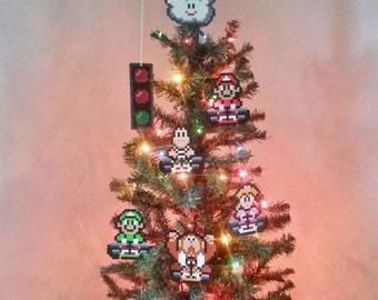 ORIGINAL Super Mario Kart Perler Bead Christmas Tree Topper and Ornament Set (9 Piece) - new years eve party - december gifts - trending