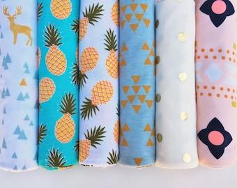 Newborn Swaddle Blanket Free Shipping Modern Baby Nursery Lightweight Knit Shower Gift Gender Neutral Pineapple Gold Dot Triangle Deer Teal