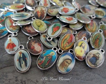holy religious charms colorful image bubble dome silver toned virgin mary saints jesus infant of prague vintage style jewelry, lot of 10 pcs