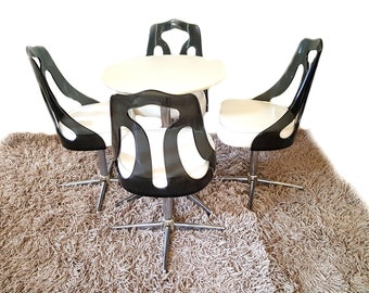 Mid Century Dining Set ~ Lucite Tulip Chair / Black And White ~ Smoked Lucite Swivel Chairs And Round Table By Sovereign