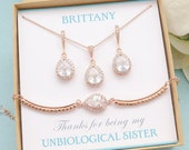 Personalized Bridesmaid Gifts, Bridesmaid Jewelry, Bridesmaid Earrings Necklace Bracelet Set, Rose Gold Earrings, Mother of Bride Gift