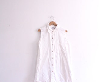 Minimal White 90s Shirt Dress