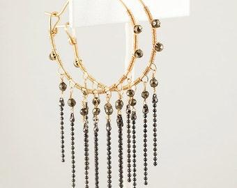 Gold Hoop Earrings with Pyrite Gemstone Fringe, 14k Gold, Sparkling Hoops, Original Design, Artisan Jewelry, Handmade Hoop Earrings