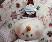 Primitive Folk Art Cloth Christmas Snow Angel/Snowgirl Doll