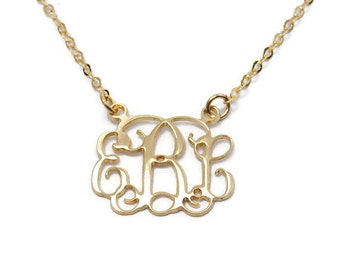 """2"""" Monogram Necklace. Personalized Initial necklace. Gold plated sterling silver. Monogram jewelry. Gold monogram necklace. Initial necklace"""