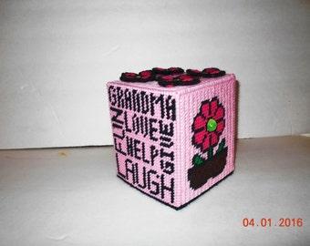 Grandma Tissue box cover in Plastic canvas