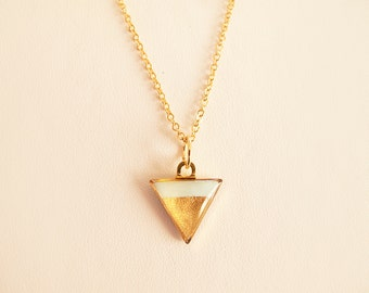 Mint Gold Triangle Necklace - Geometric Necklace
