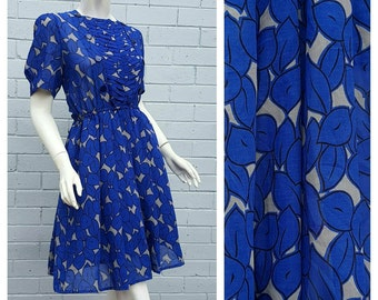 Vintage 1980s 'Matis' Label Electric Blue Leaf Print Semi Sheer Pintuck Bodice Pleat Fit and Flare Dress Medium Large