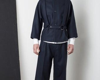 Mens coat Mens wool coat Mens blue coat Mens short coat Mens winter coat Mens overcoat Mens raincoat minimalist clothing Mens tailored coat