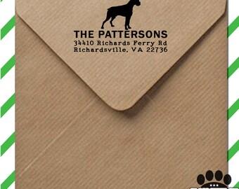 Custom dog stamp - return address self inking stamp with dog silhouette