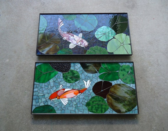 2pc koi fish mosaic made to order stained by paradisemosaics for Koi pond glass