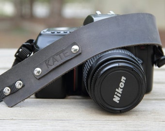 Personalized Leather Camera Strap,Leather Camera Strap,Gift for Photograph Lovers,Gray Camera Strap