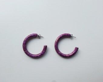 VINTAGE Purple Groovy Hoop Earrings