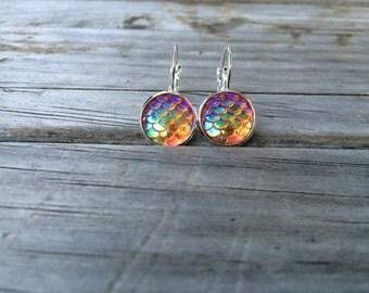 Orange Mermaid Scale Earrings, Mermaid Earrings, Leverback Earrings, Beach earrings, Sea earrings, Ocean Earrings, Gifts for her, Orange