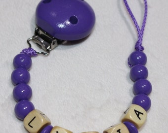 Personalised Wooden Dummy Chain / Baby Pacifier clip Binky Clip Purple