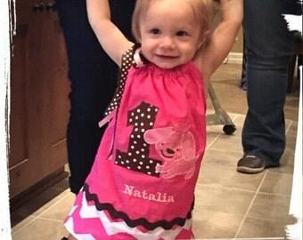 "Baby Girl PUPPY Birthday Dress, Toddler Pink and Brown ""Princess Puppy"" Pillowcase Dress, polka dot, chevron 1st 2nd 3rd 4th 5th Birthday"
