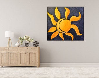 Introspective painting, moon and sun, coloured painting, Original Acrilic Painting By Marco Viola , Certification Attached.