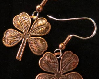 Shamrock Earings Copper Saint Paddys Day Four Leaf Clover Earings St. Patricks Day  EC034