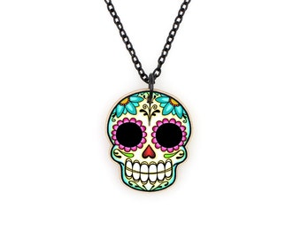 Sugar Skull and Daisies Necklace - Day of the Dead Calaverita