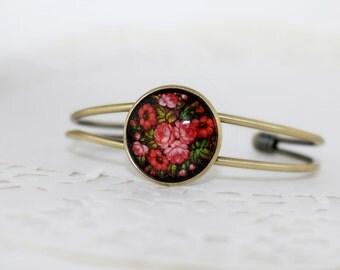 Red Bunch of Flowers Bracelet, Antique Bronze Bracelet, Glass Cabochon, Zhostovo Russian Folk Art