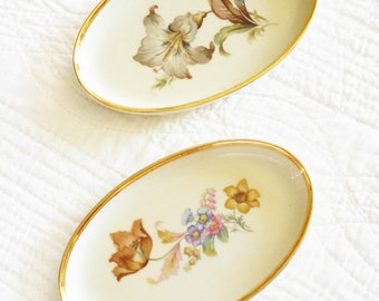 Vintage Cottage Home Celadon Green, French Grey, and Pink Blush Floral Porcelain Dishes with Gold Trim, Olives and Doves