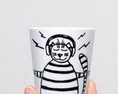 Hand painted cat mug Unique coffee mugs Tea mug Cat lover Gift for her Funny coffee mugs Cat gift Teacup cat decor Birthday Gift under 25